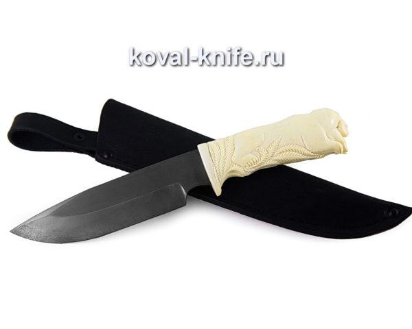Нож из булатной стали Барс с резной костяной рукояткой