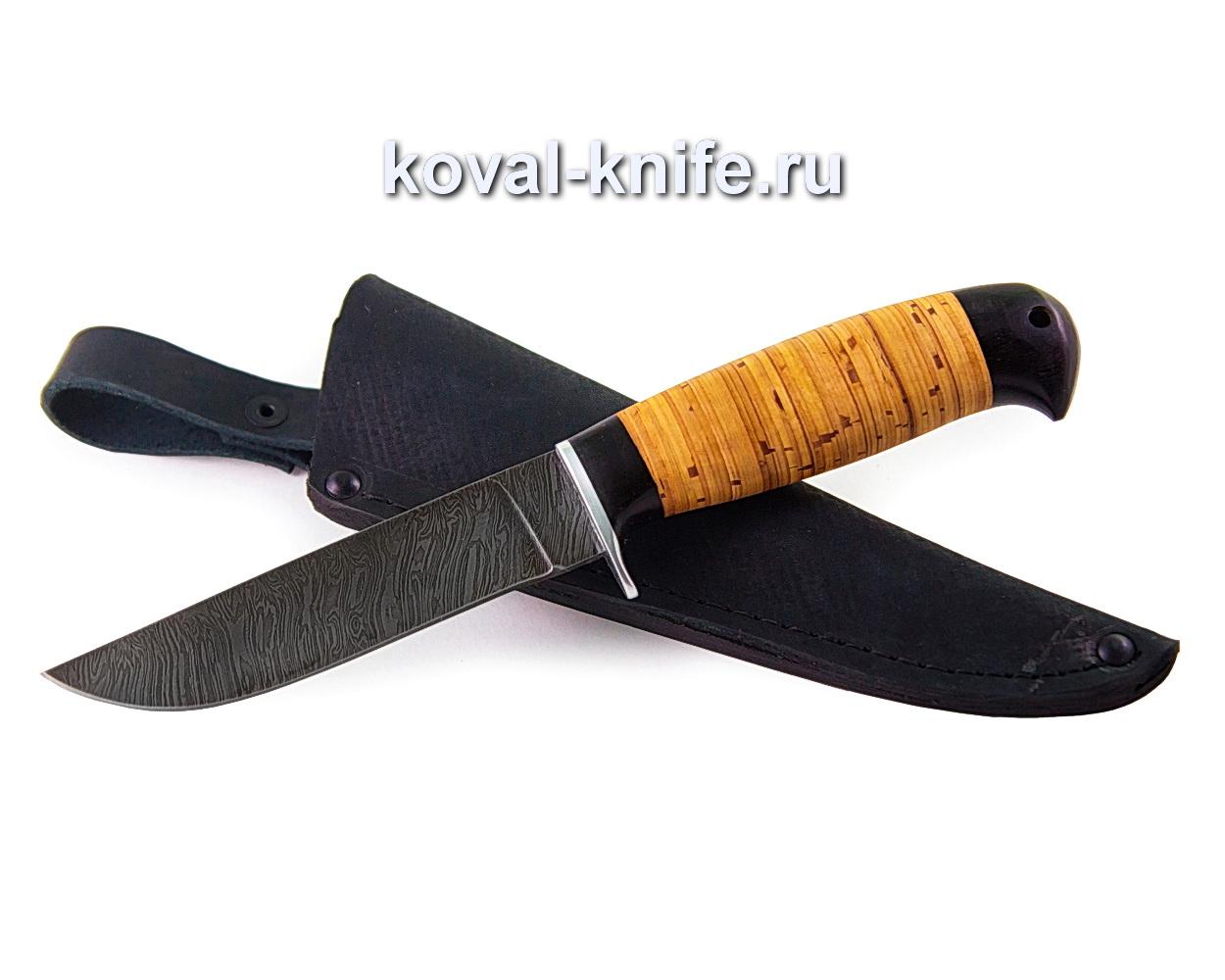 Нож Белка (дамасская сталь), рукоять береста и граб A344