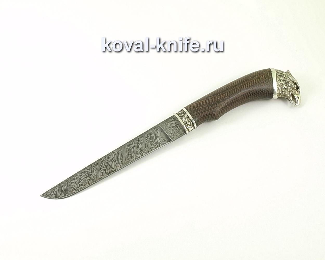 Нож из дамасской стали Волк (венге, литье мельхиор сокол) A325