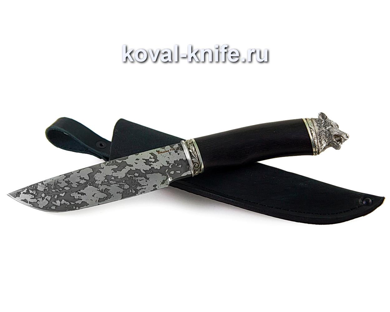 Нож Барс из стали 95х18 (рукоять граб, притин и пятка-мельхиор, травление) A348