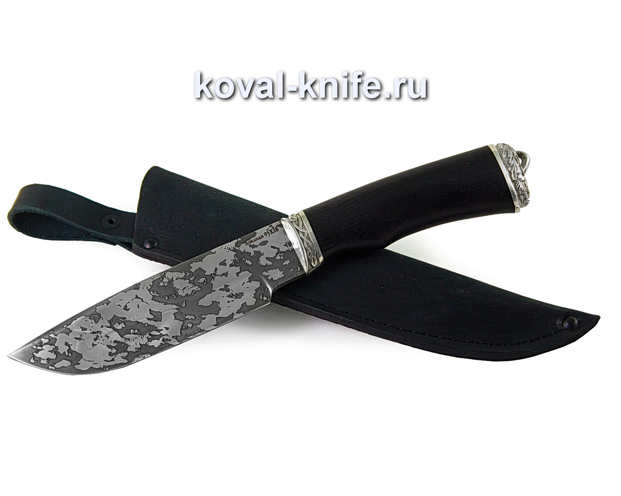 Нож Барс из стали 95х18 (рукоять граб, притин и пятка-мельхиор, травление)