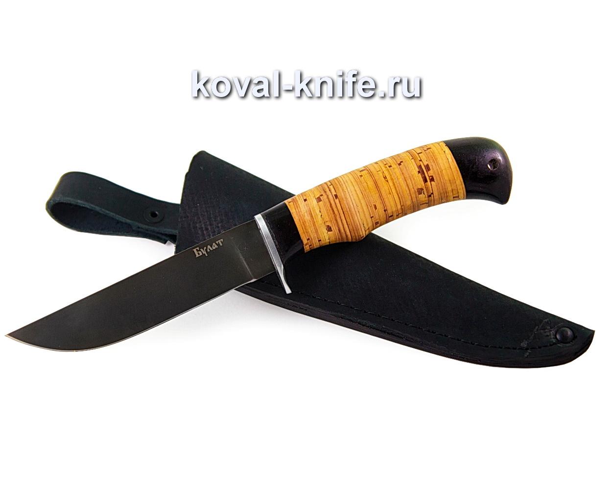 Нож из булатной стали Белка (рукоять береста и граб) A375