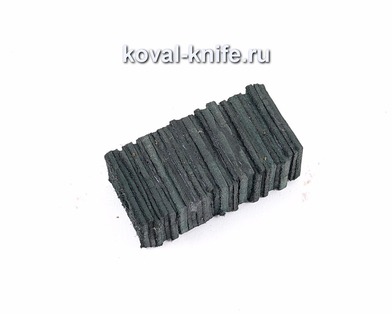 Брусок из наборной кожи для рукоятки ножа (черная кожа)