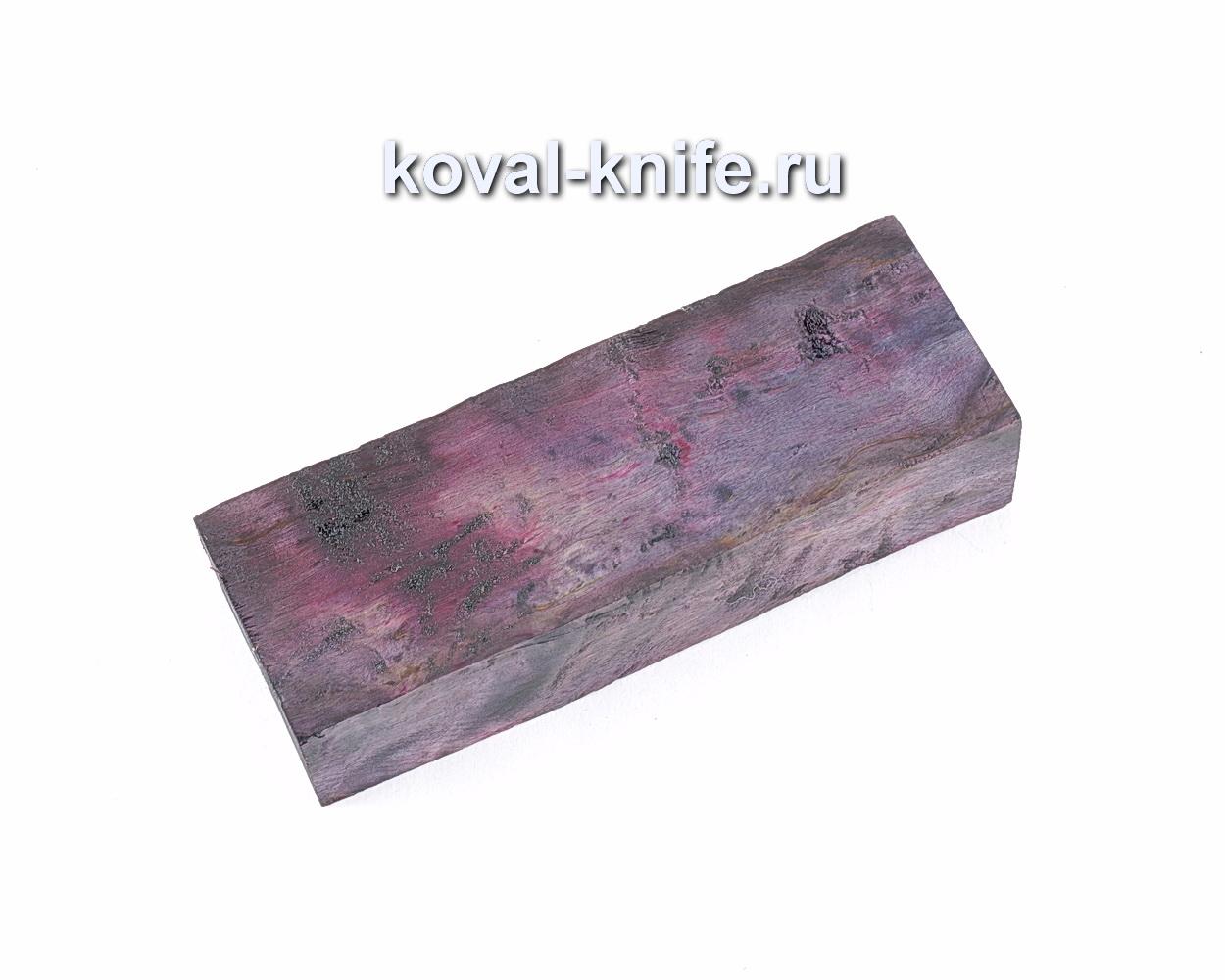 Карельская береза стабилизированная для рукоятки ножа (фиолетовая)