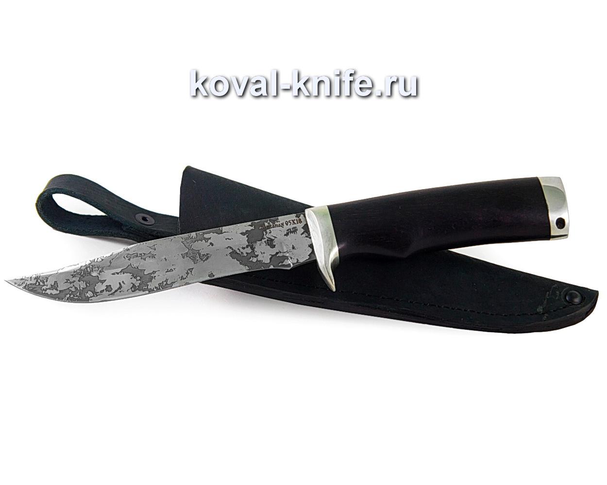 Нож Викинг из стали 95х18 (рукоять граб, гарда и пятка-мельхиор, травление)