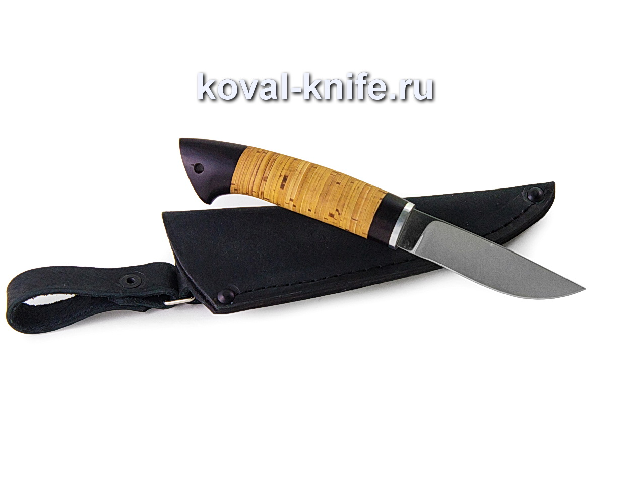 Нож Грибник из кованой стали 110х18 (рукоять береста, граб)