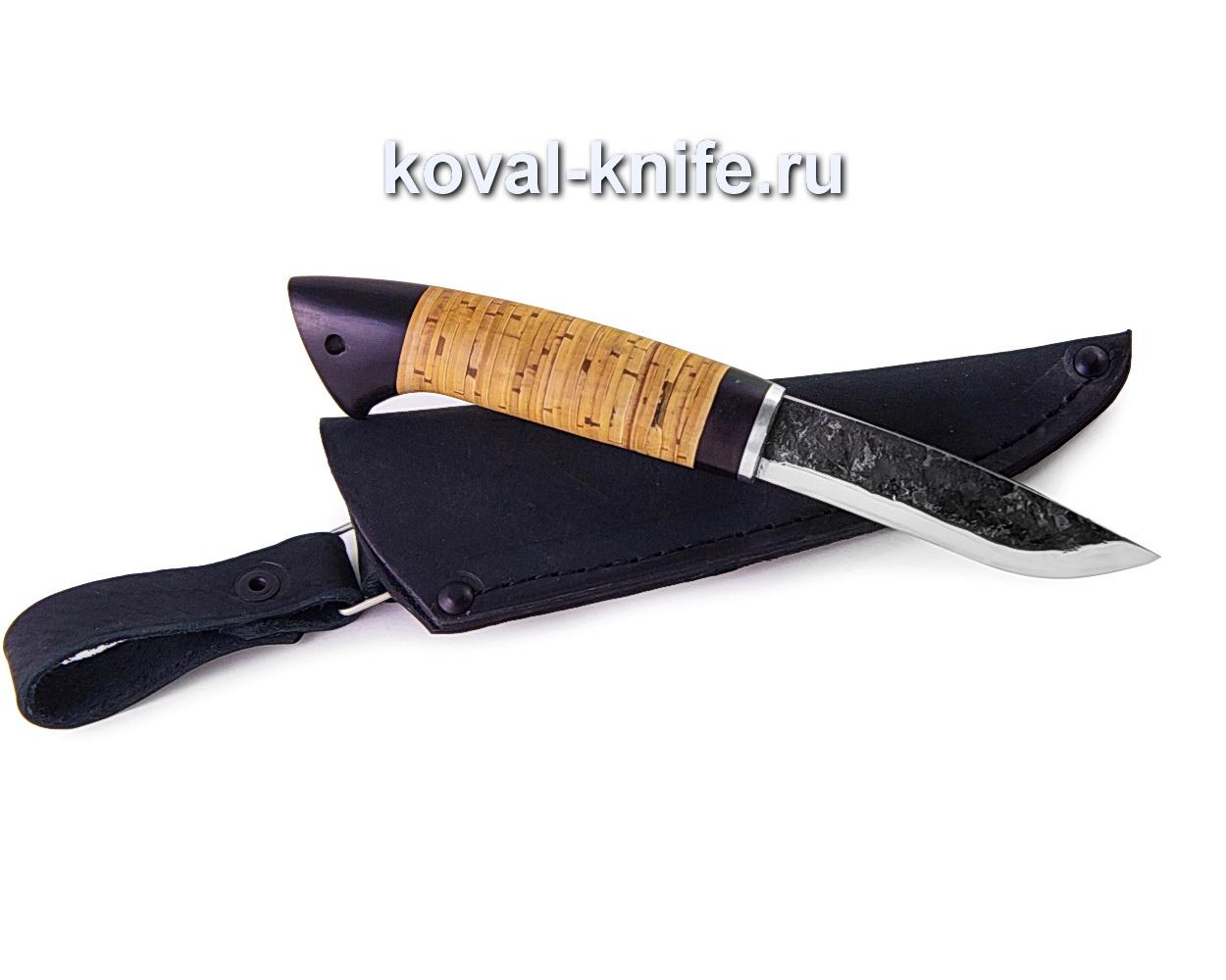 Нож Грибник из кованой стали 9хс (рукоять береста, граб) A332