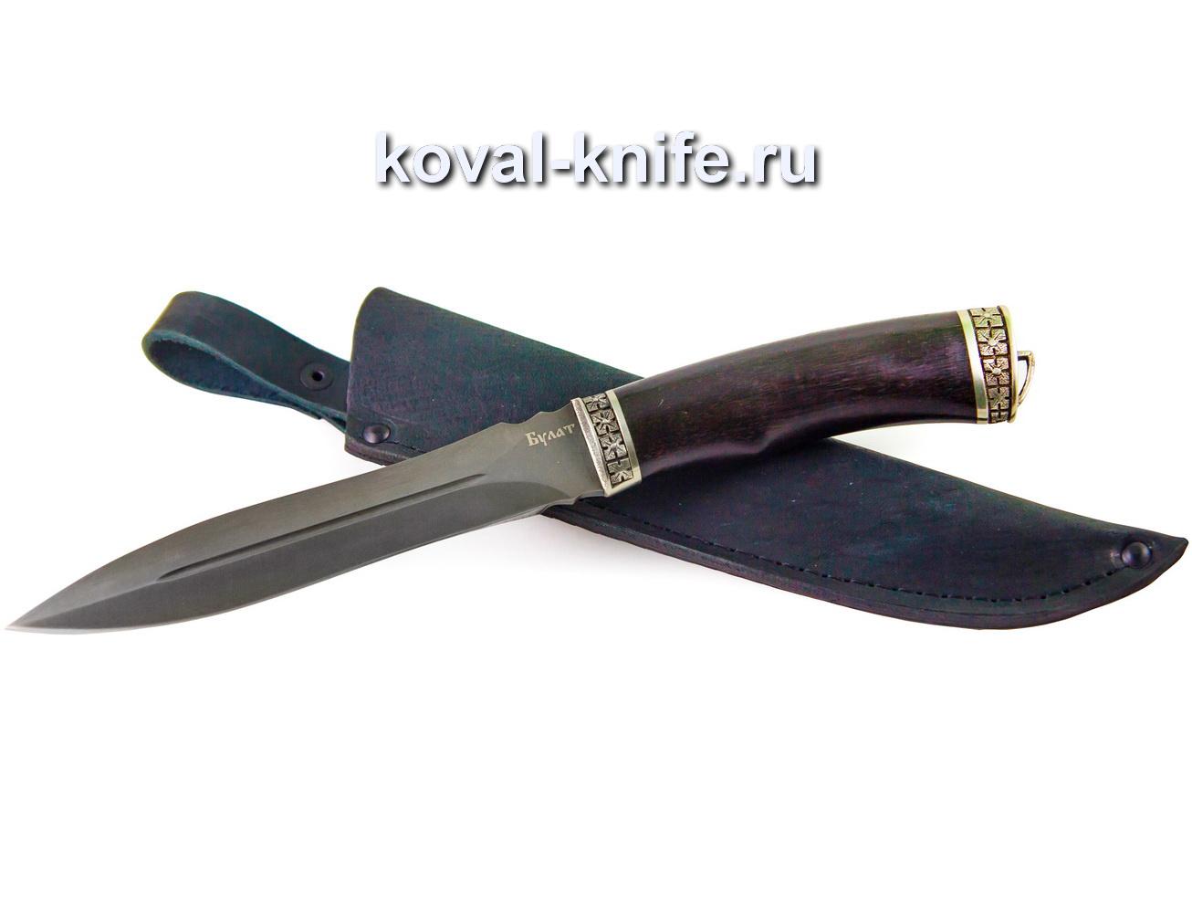 Нож из булатной стали Кардинал (рукоять мореный граб, литье мельхиор) A382
