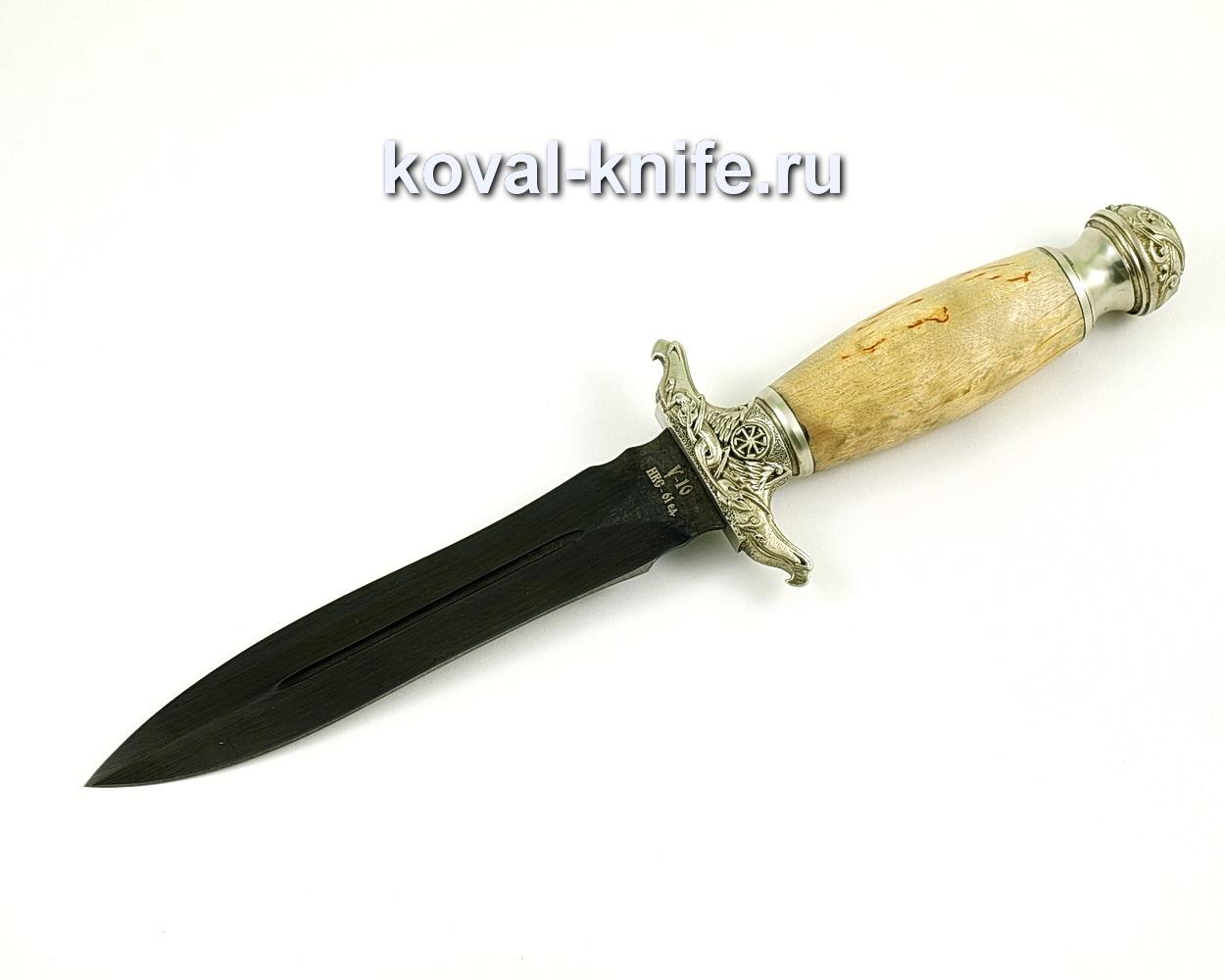 Нож Кардинал из кованой стали У10 (карельская береза, литье мельхиор)