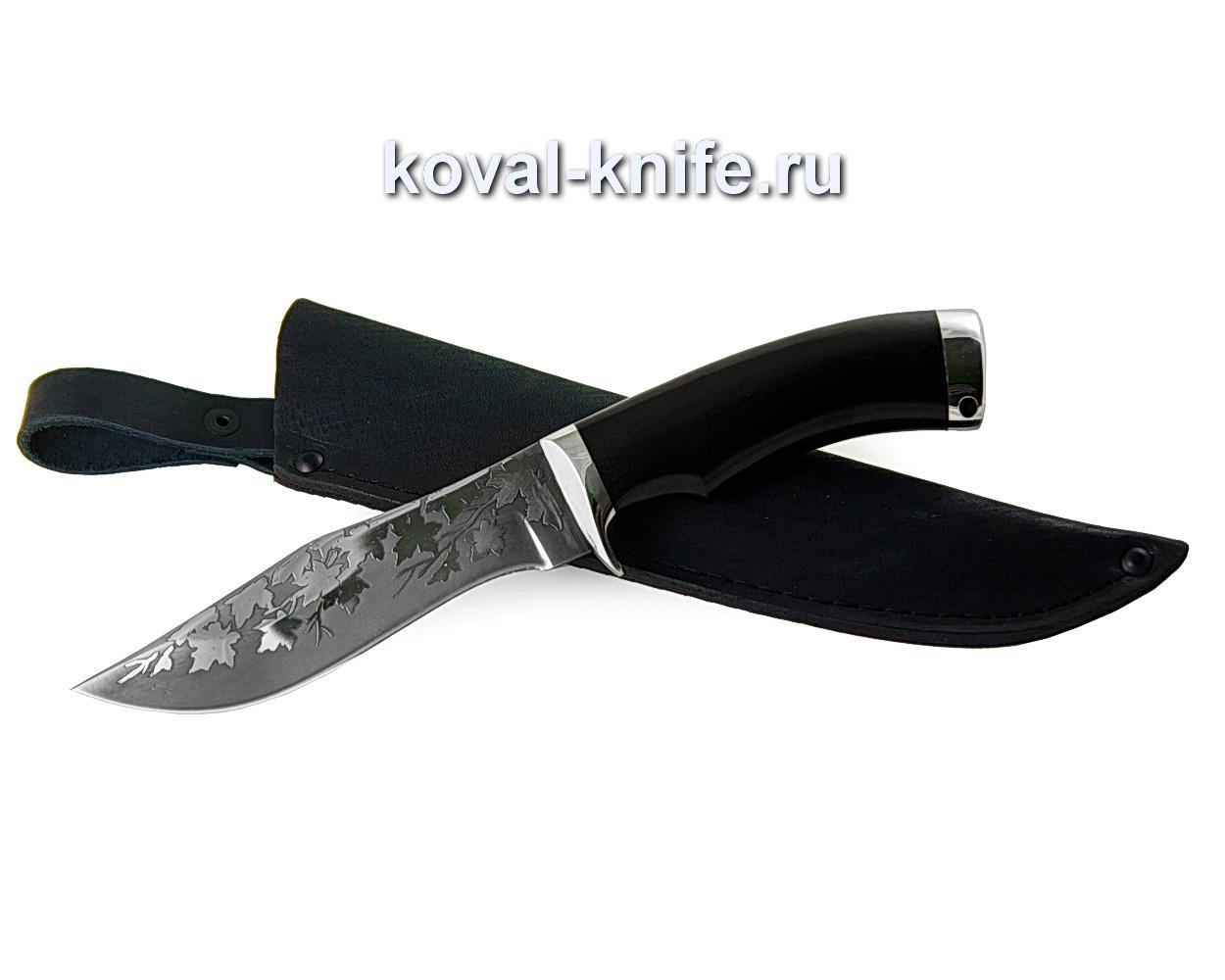 Нож из стали 95х18 Охотничий (черный граб, литье мельхиор) A352