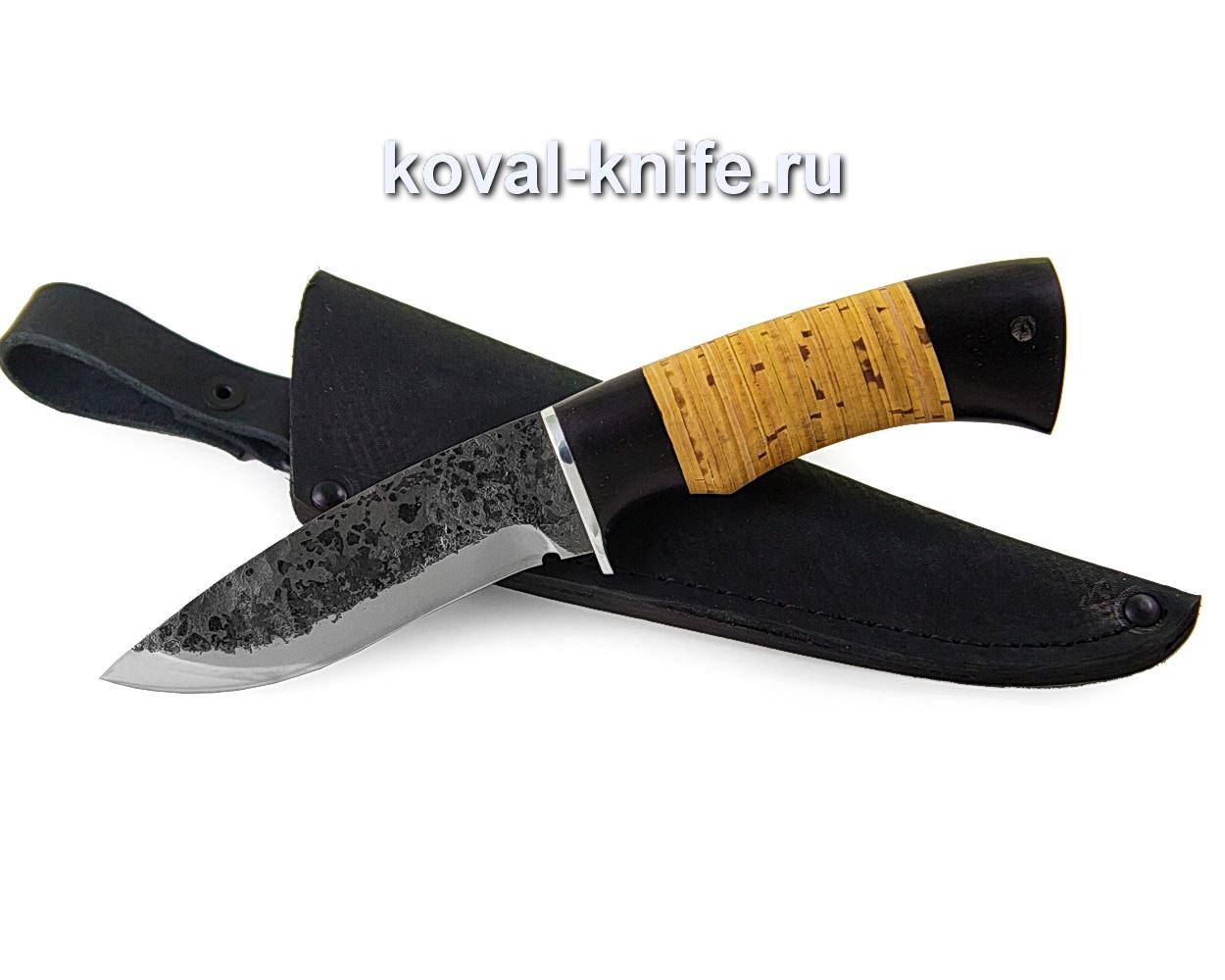 Нож Сапсан из кованой стали 9хс (рукоять береста и граб) A367