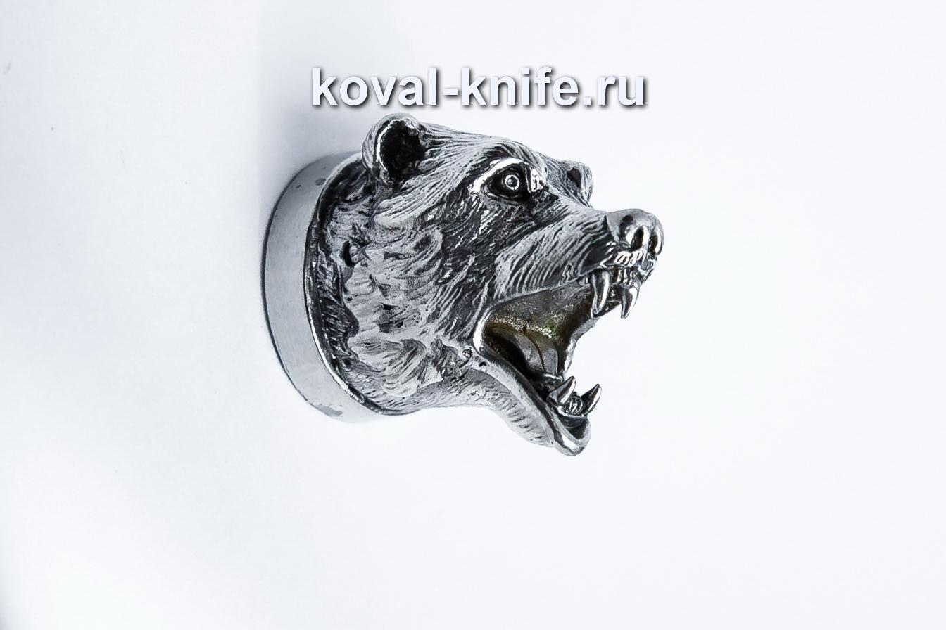 Литье для шампура 115 Голова — Медведь, круглое примыкание. Диаметр D 28мм.