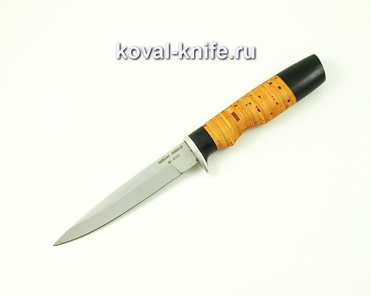 Нож Коготь из стали N695 (рукоять береста и граб) A416