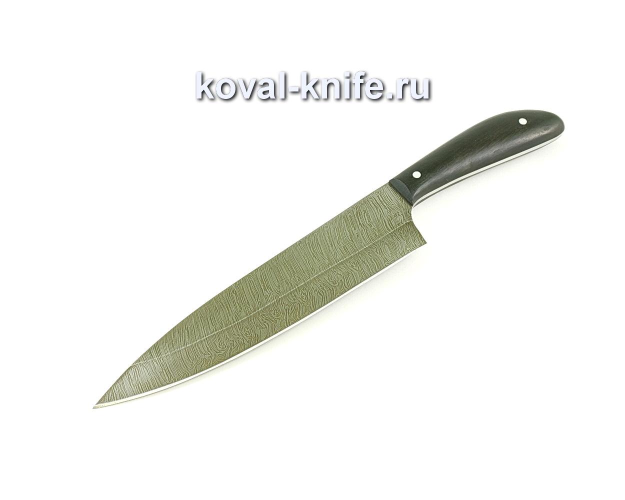 Кухонный большой нож (сталь дамасская), рукоять граб A059