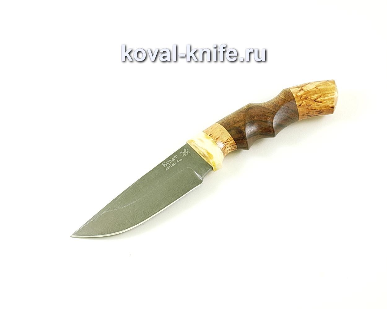 Нож Норвег (сталь Булат), рукоять кость, карелка, орех A050