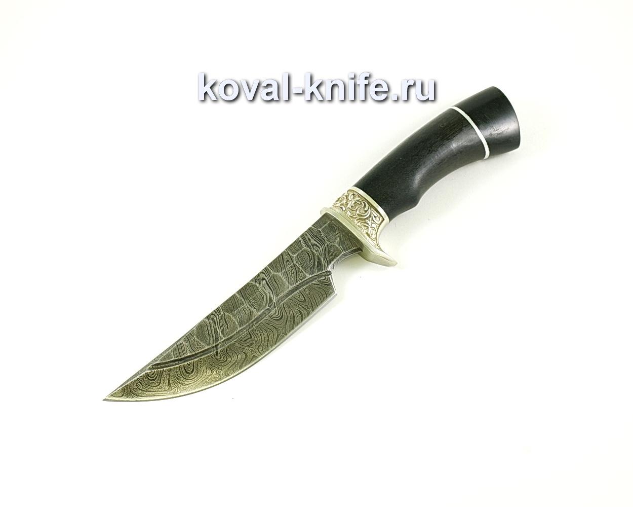 Нож Лис-2 (сталь дамасская), рукоять граб, мельхиор