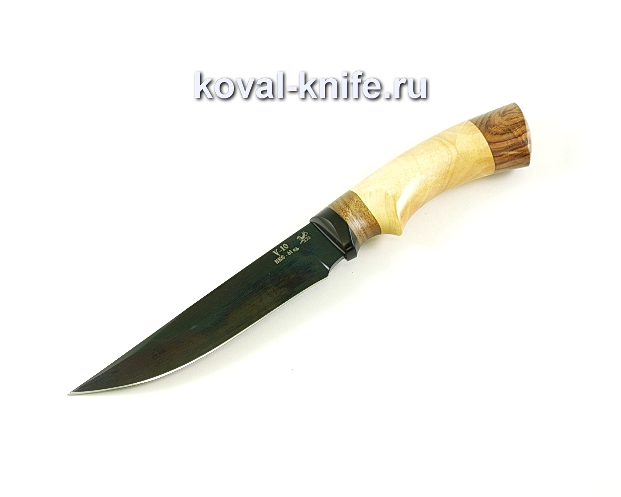 Нож Лис (сталь У10), рукоять эбонит, орех A078