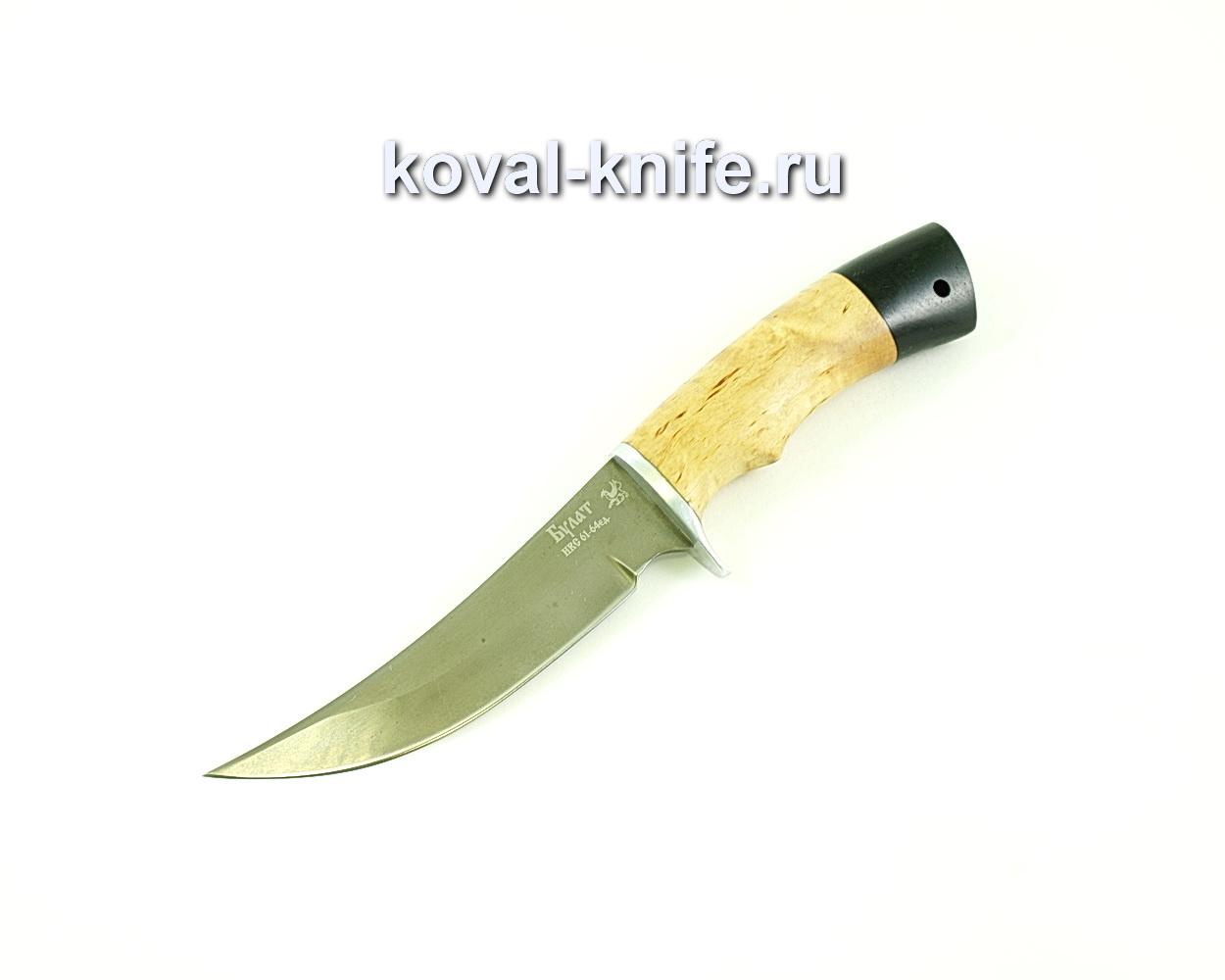 Нож Ворон (сталь Булат), рукоять карелка, граб