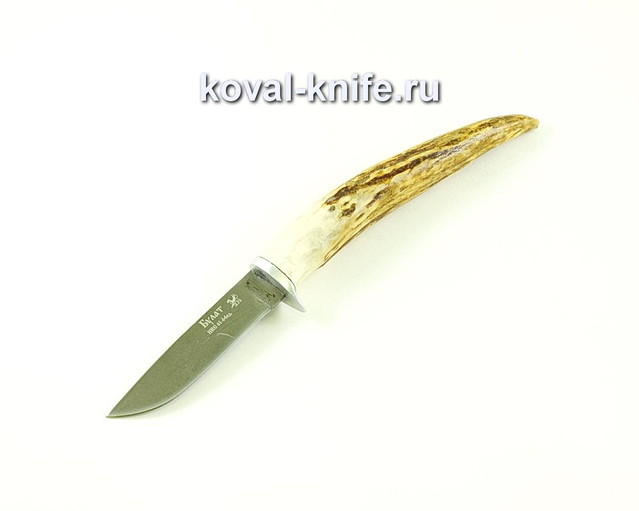 Нож Грибник (сталь Булат), рукоять рог лося A145