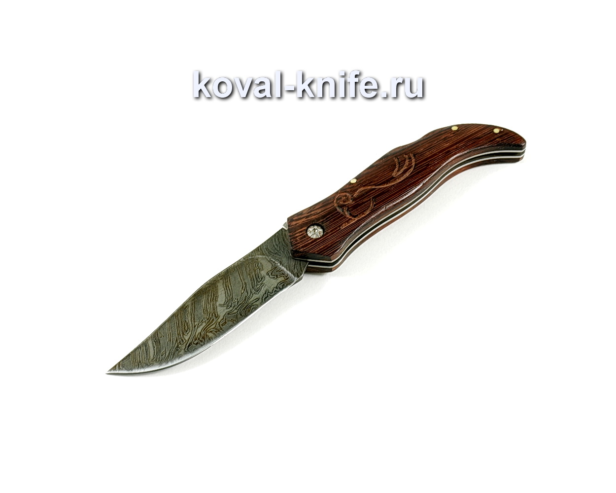 Нож Складной (сталь дамасская), рукоять орех A249