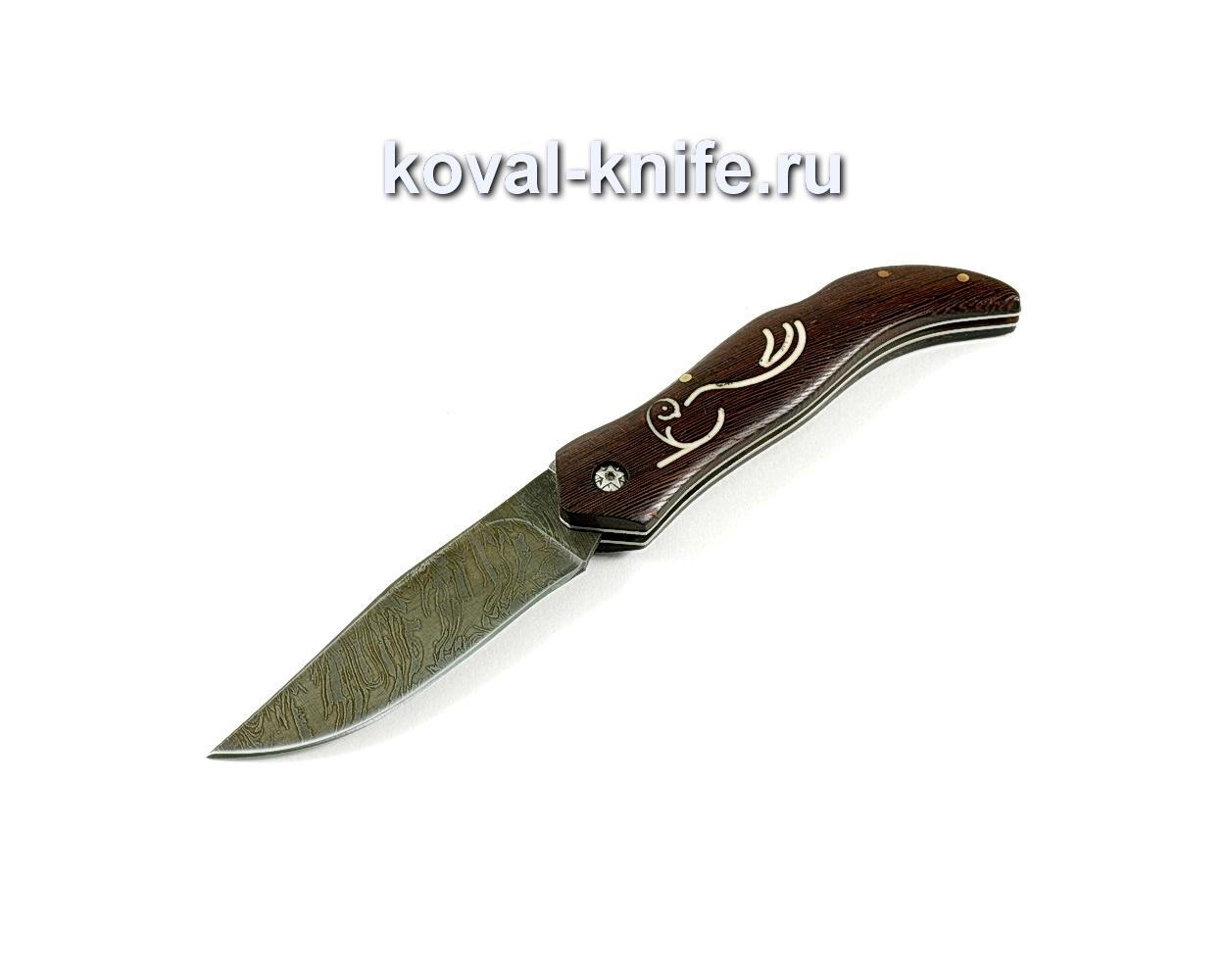 Нож Складной (сталь дамасская), рукоять орех A251