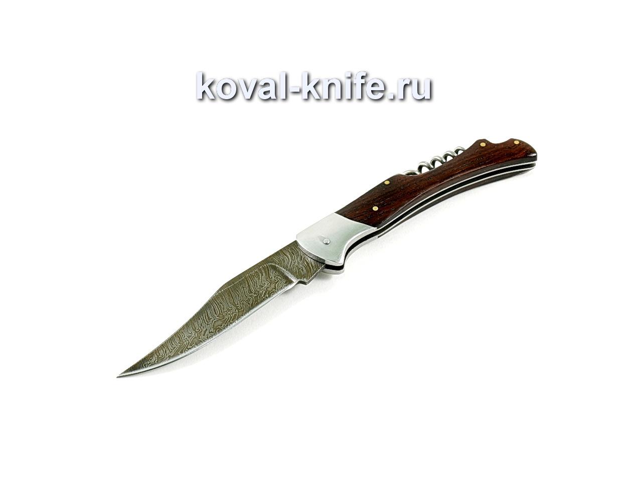 Нож Складной (сталь дамасская), рукоять орех A255