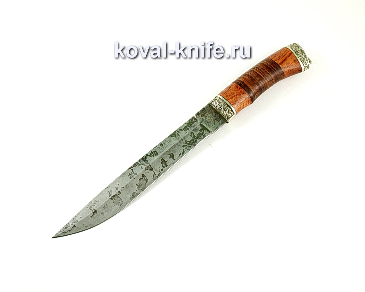 Нож Пластун (сталь95х18), рукоять бубинга, кожа, литье A242