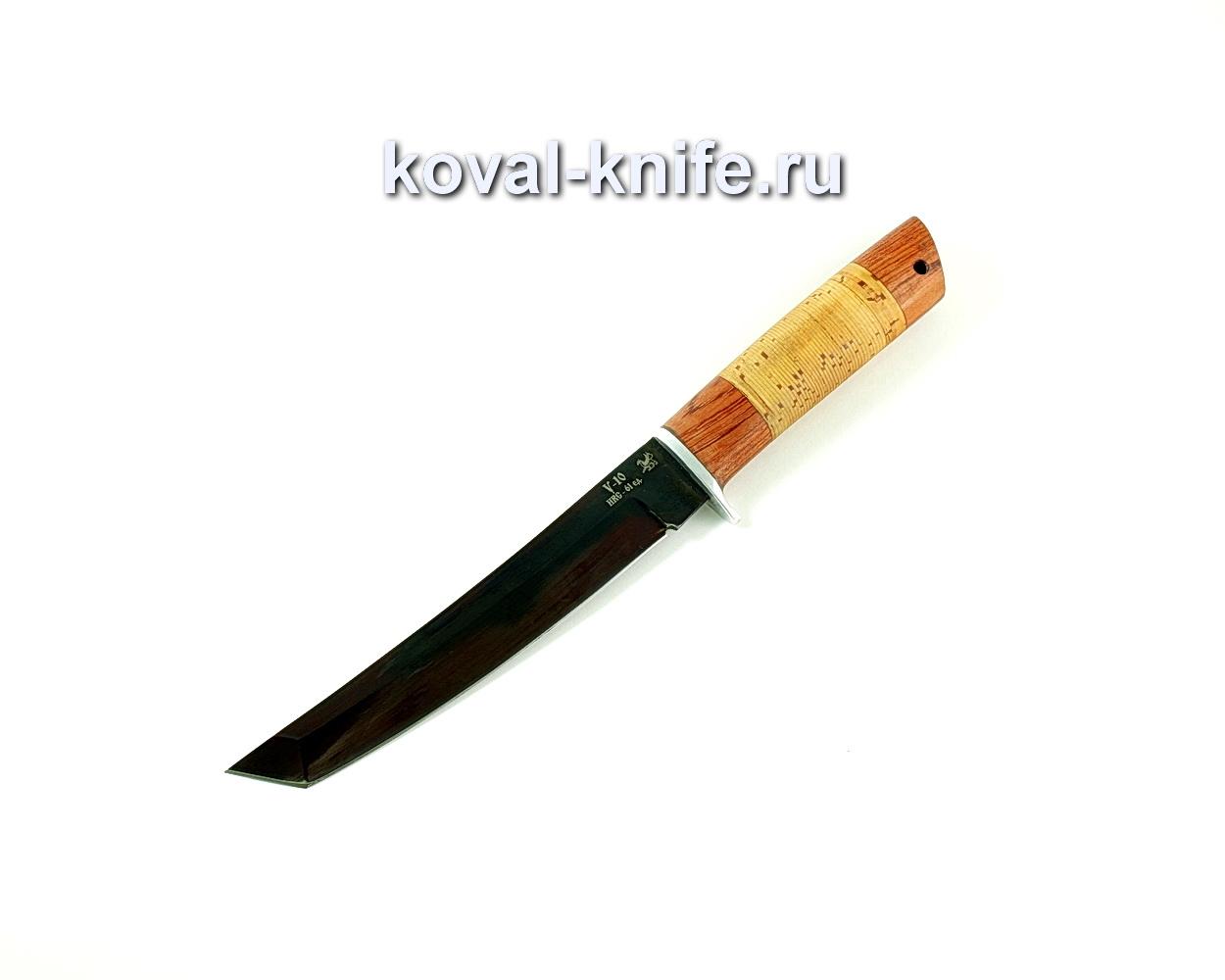 Нож Танто (сталь У10), рукоять бубинга, береста A228