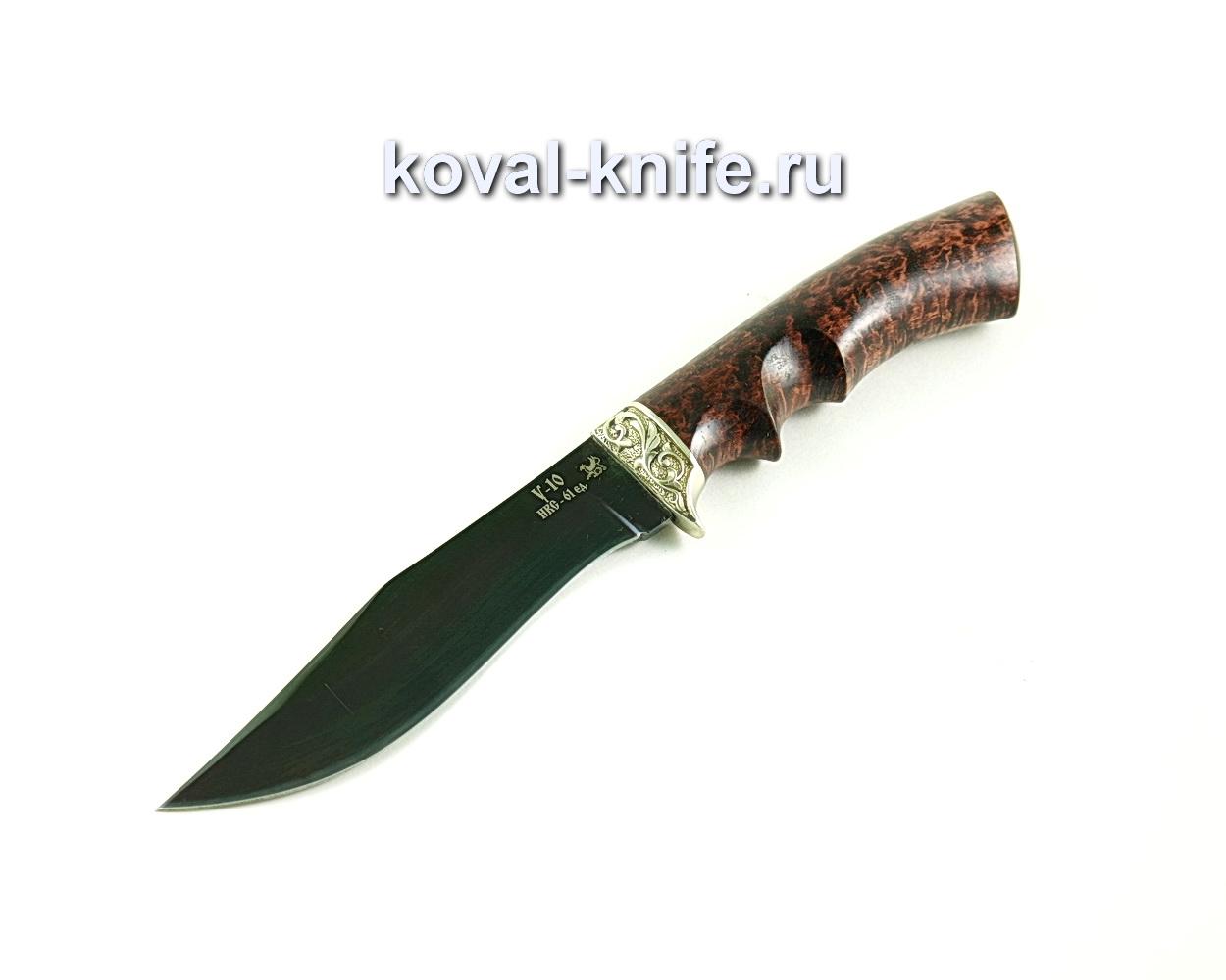 Нож Охотничий (сталь У10), рукоять карельская береза, литье A296