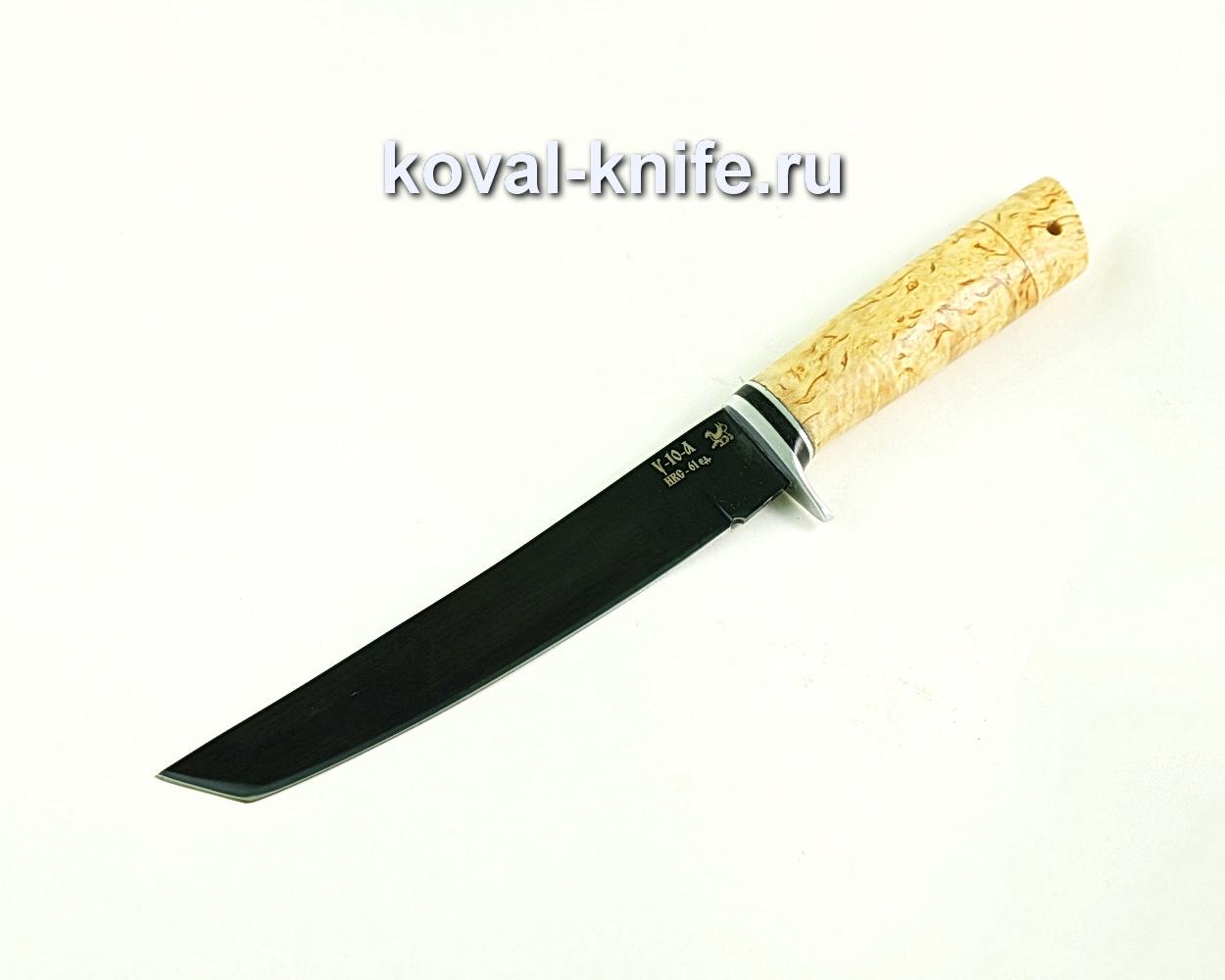 Нож Танто (сталь У10), рукоять карельская береза A308