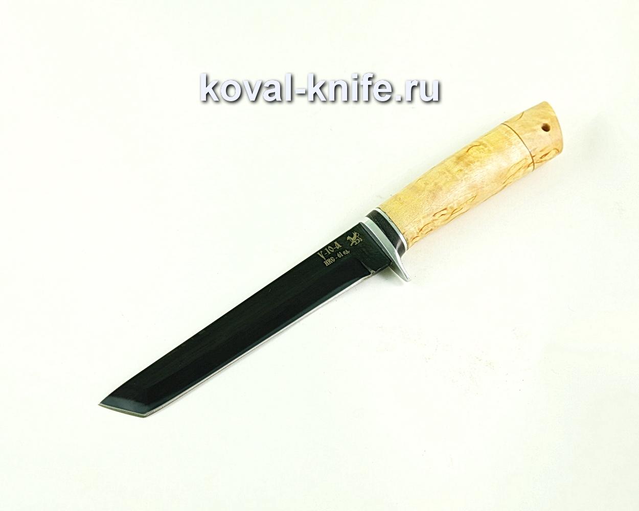 Нож кобун (сталь У10), рукоять карельская береза A310