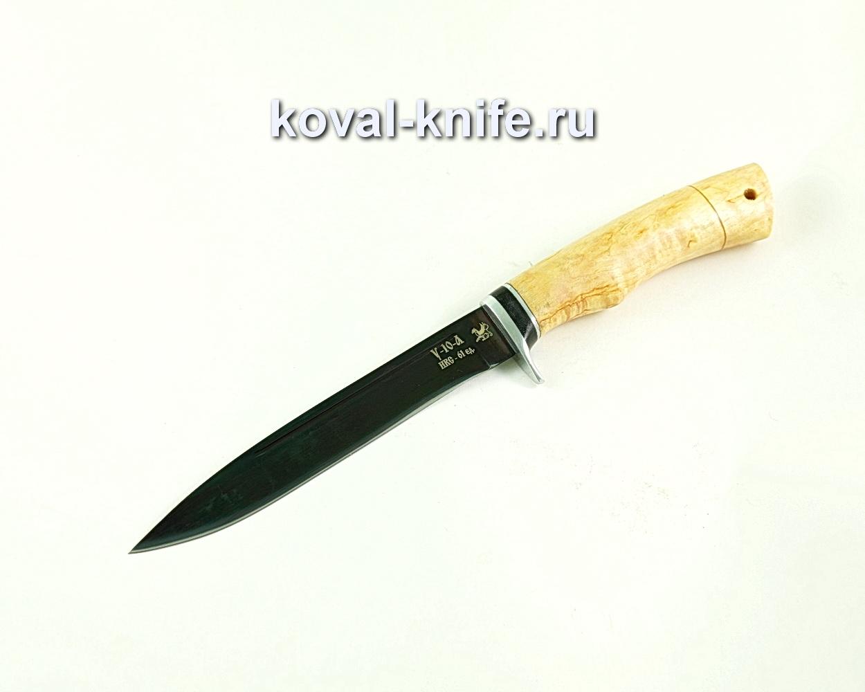Нож из кованой стали У10 Турист-3, рукоять карельская береза A002