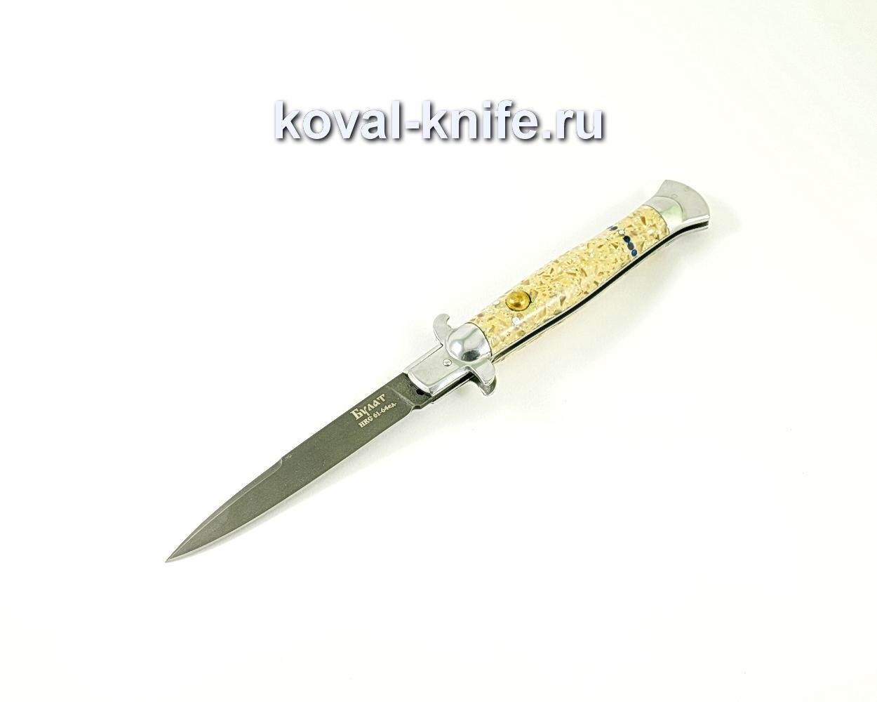 Нож Флинт (сталь Булат), рукоять текстолит с камнями A330