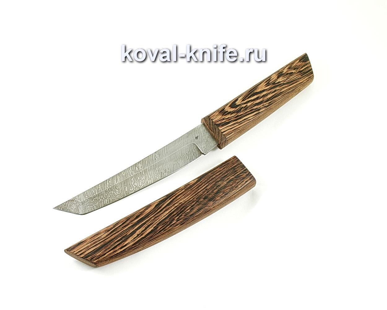 Нож из дамасской стали Танто (рукоять и ножны венге)