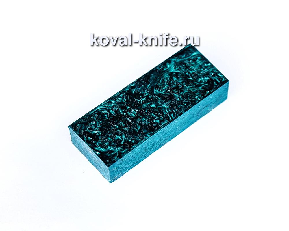 Брусок для рукояти ножа из композита (зеленый цвет, серебро) №13