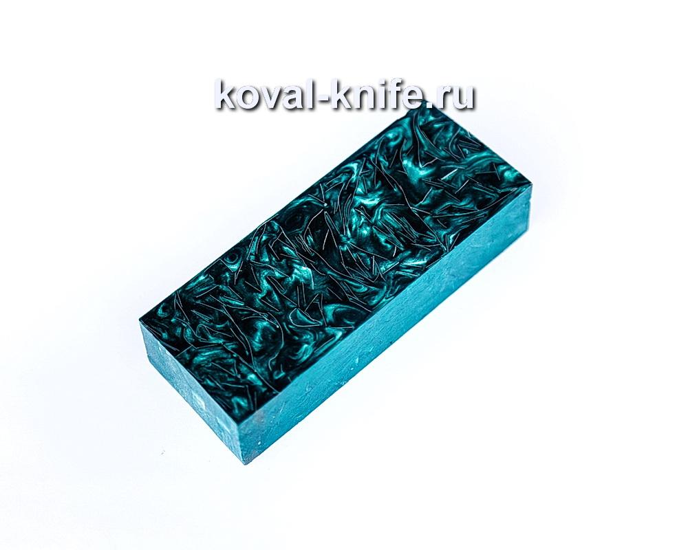 Брусок для рукояти ножа из композита (зеленый цвет, серебро) №14