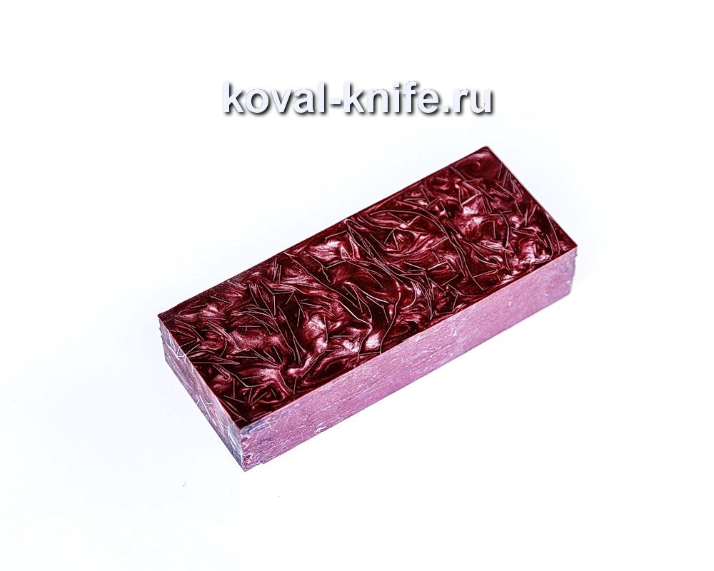 Брусок для рукояти ножа из композита (красный цвет, серебро) №16