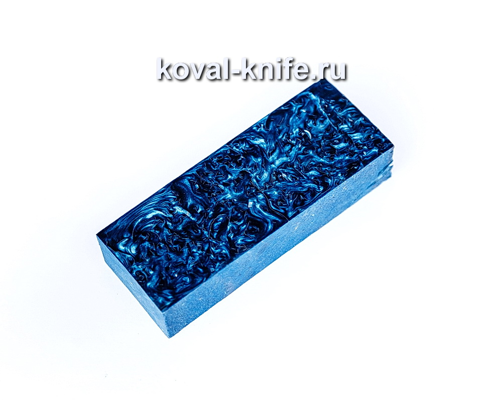 Брусок для рукояти ножа из композита (синий цвет, серебро) №17