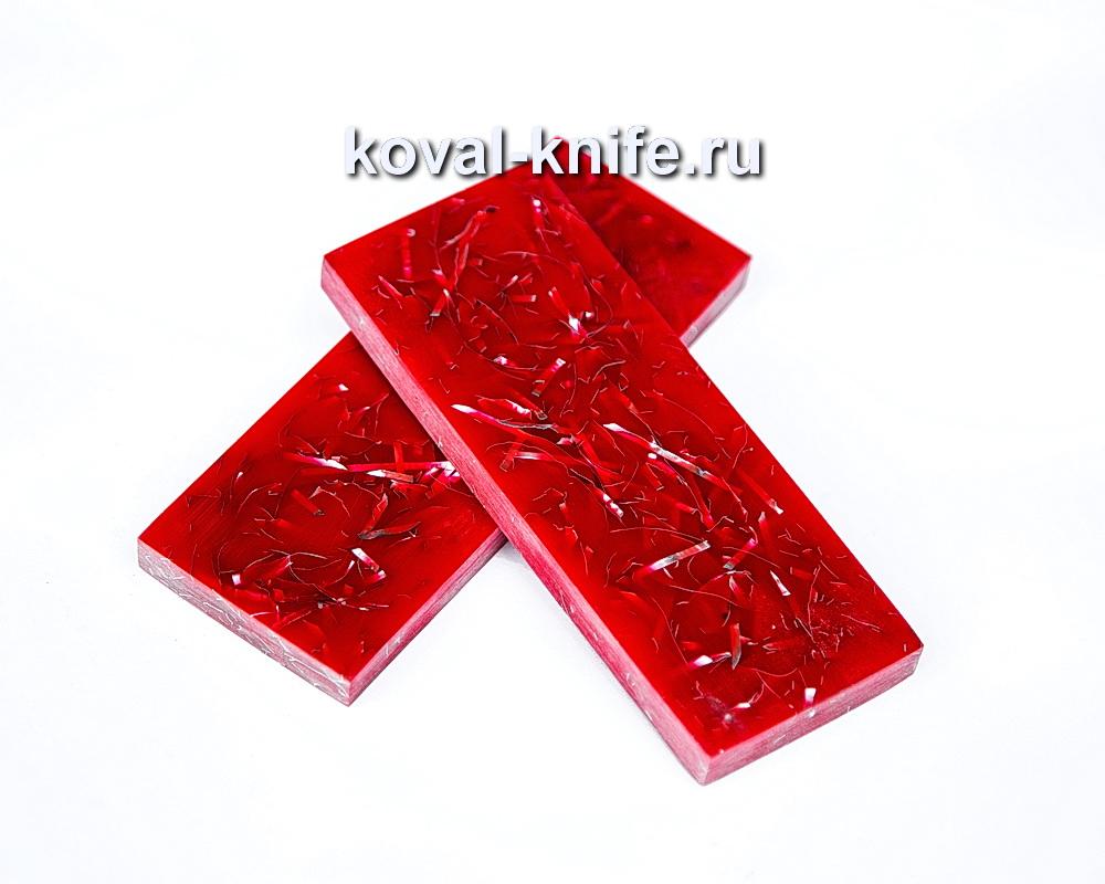 Накладки для рукояти ножа из композита (красный цвет) №8