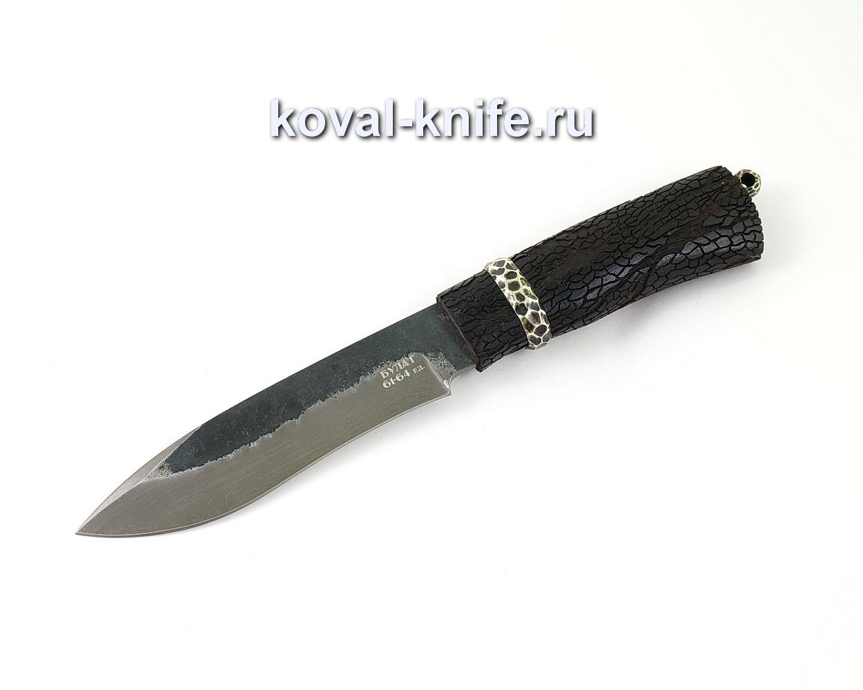 Нож из булатной стали Орлан (Легированный булат, рукоять из граба с резьбой, мельхиор)