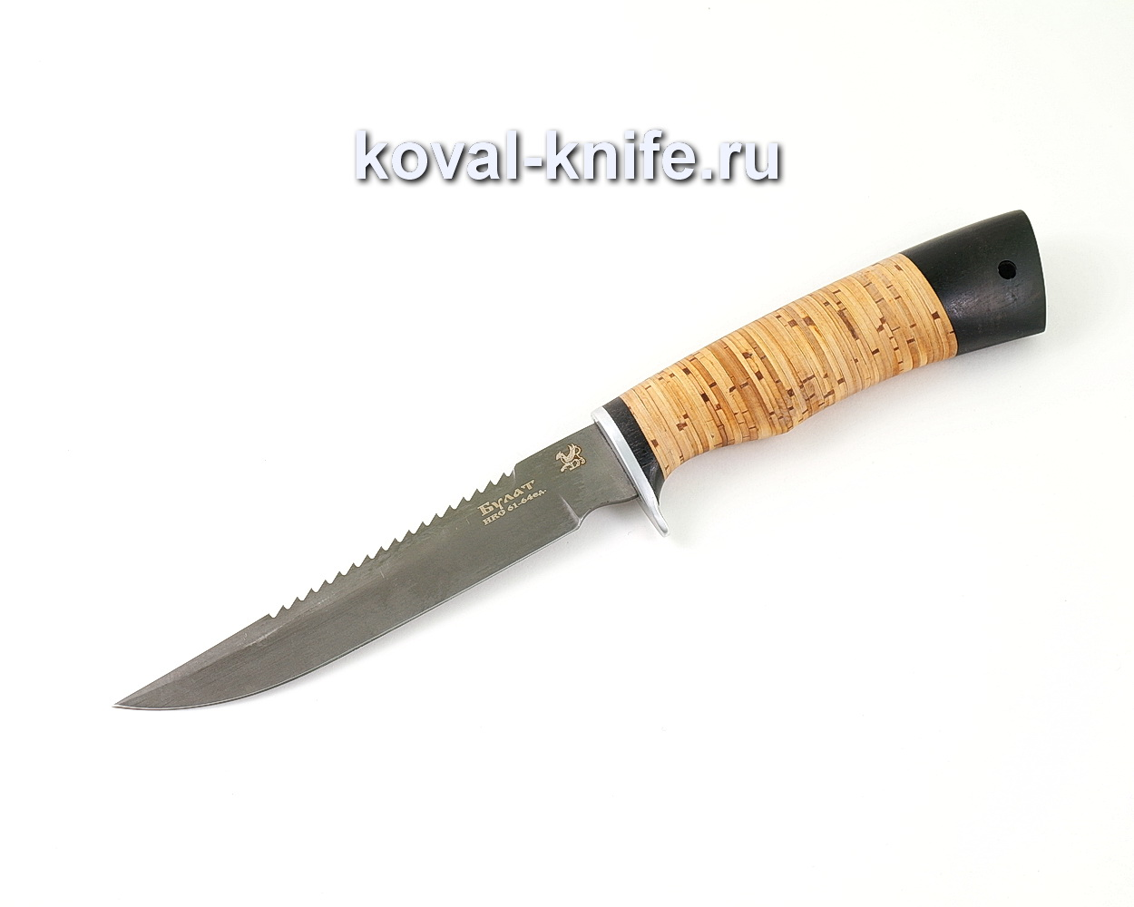 Нож из булатной стали Рыбак (Легированный булат, рукоять береста и граб) A466