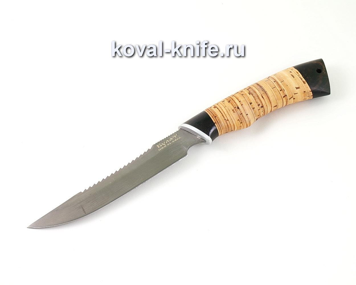 Нож из булатной стали Рыболов (Легированный булат, рукоять береста и граб) A467