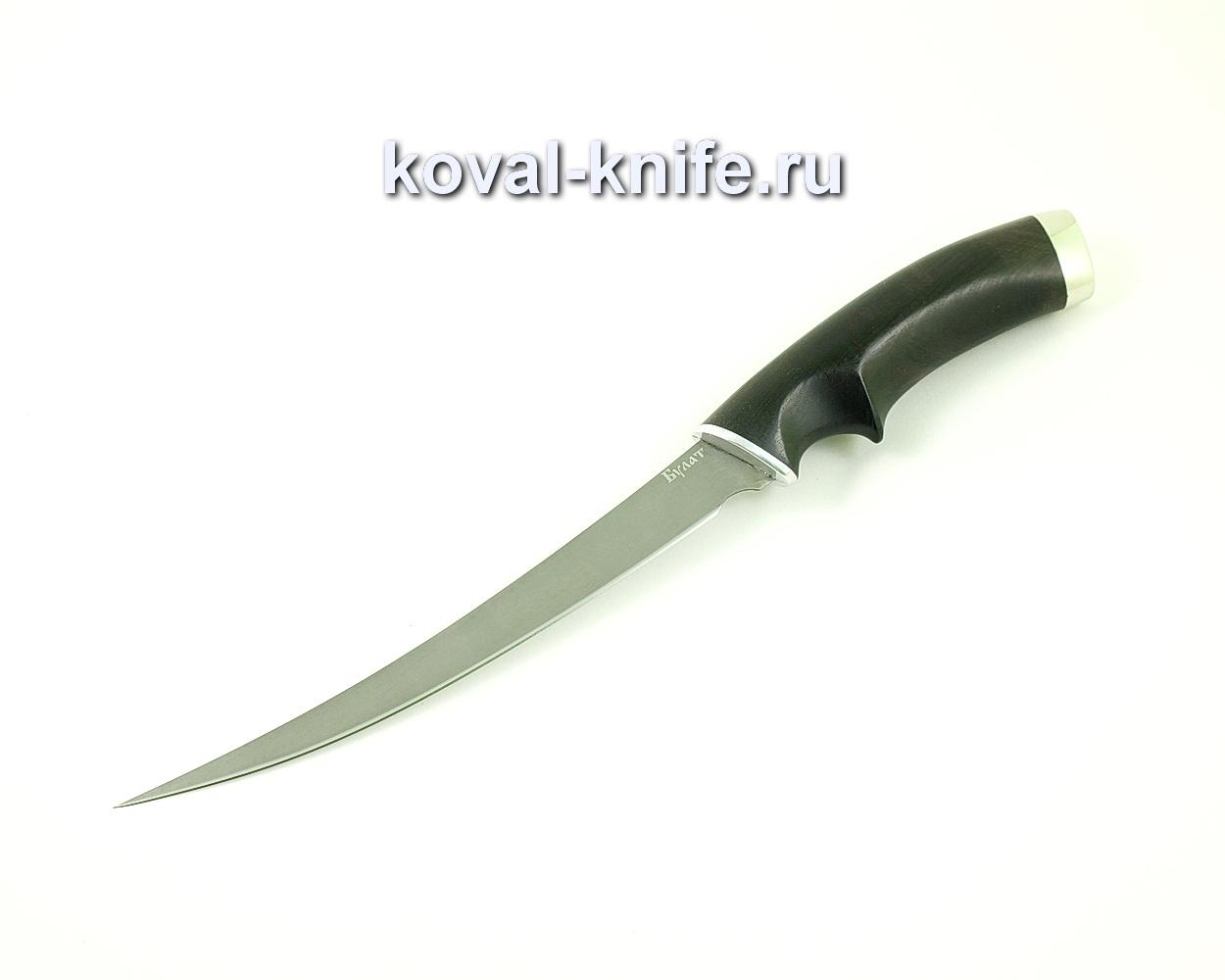 Нож из булатной стали Филейный (Легированный булат, рукоять граб и мельхиор) A450