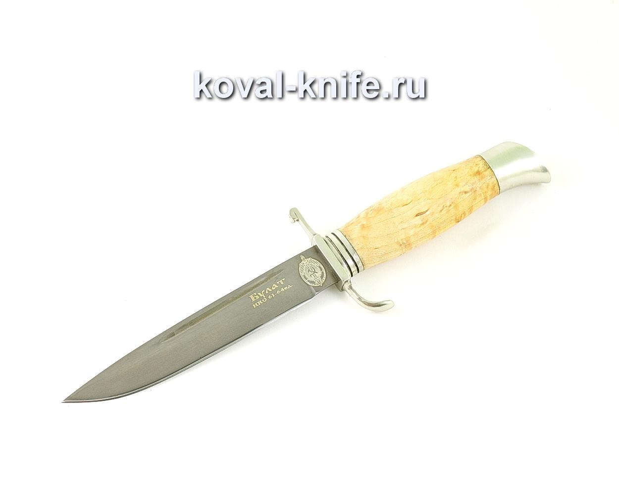 Нож из булатной стали Финка НКВД (Легированный булат, рукоять карельская береза, литье мельхиор) A474