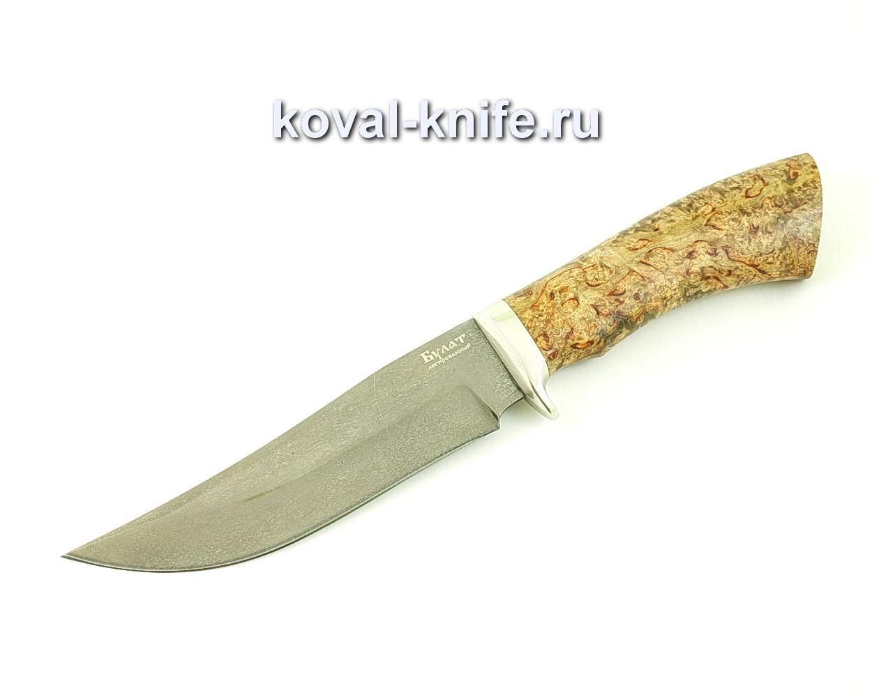 Нож из булатной стали Клыч (Легированный булат, рукоять стабилизированная карельская береза, литье мельхиор)