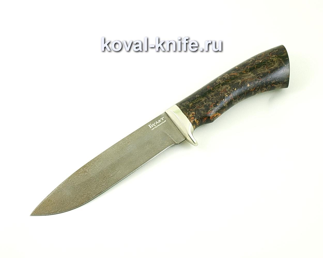 Нож из булатной стали Олимп (Легированный булат, рукоять стабилизированная карельская береза, литье мельхиор) A480