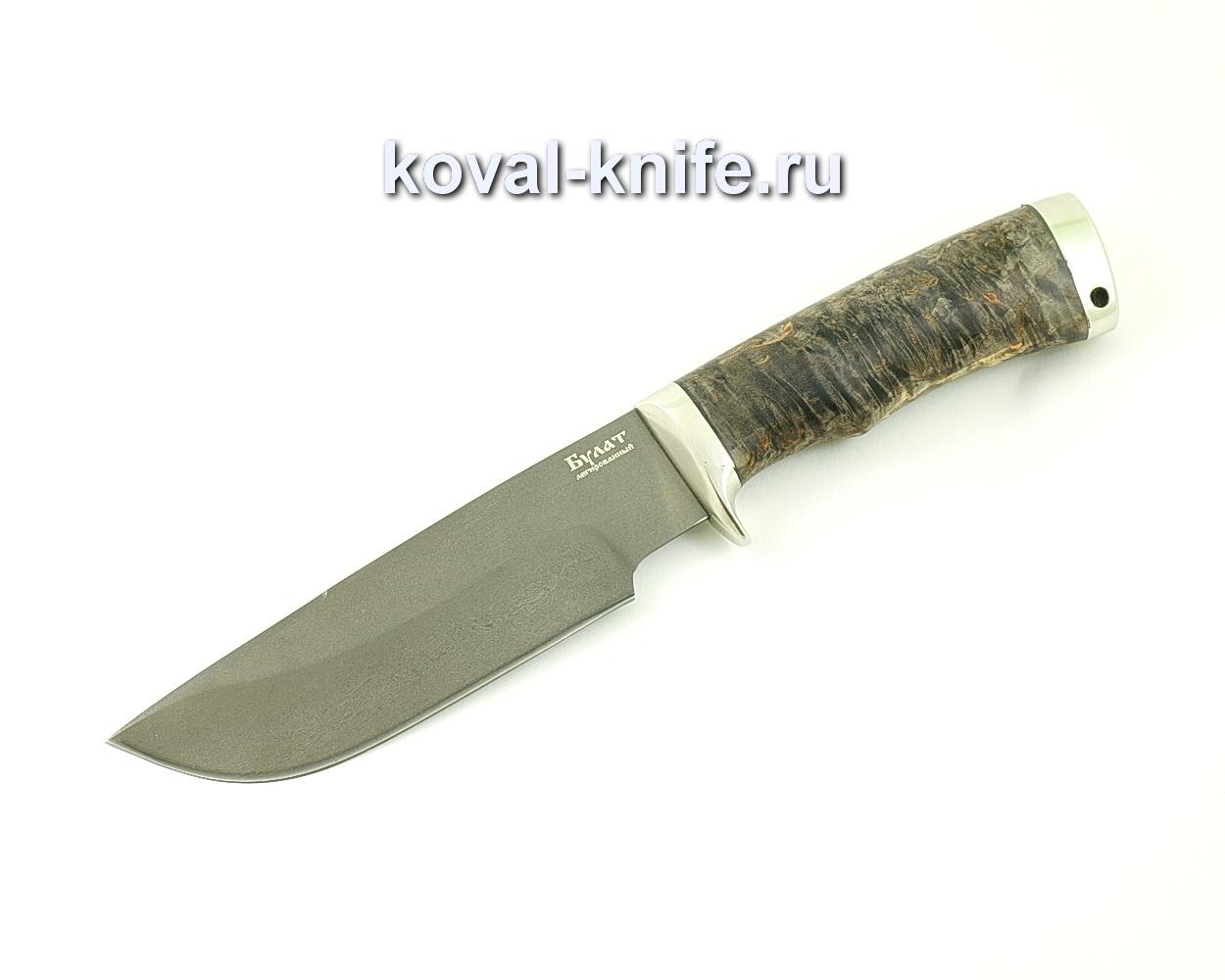 Нож из булатной стали Барс (Легированный булат, рукоять стабилизированная карельская береза, литье мельхиор) A481
