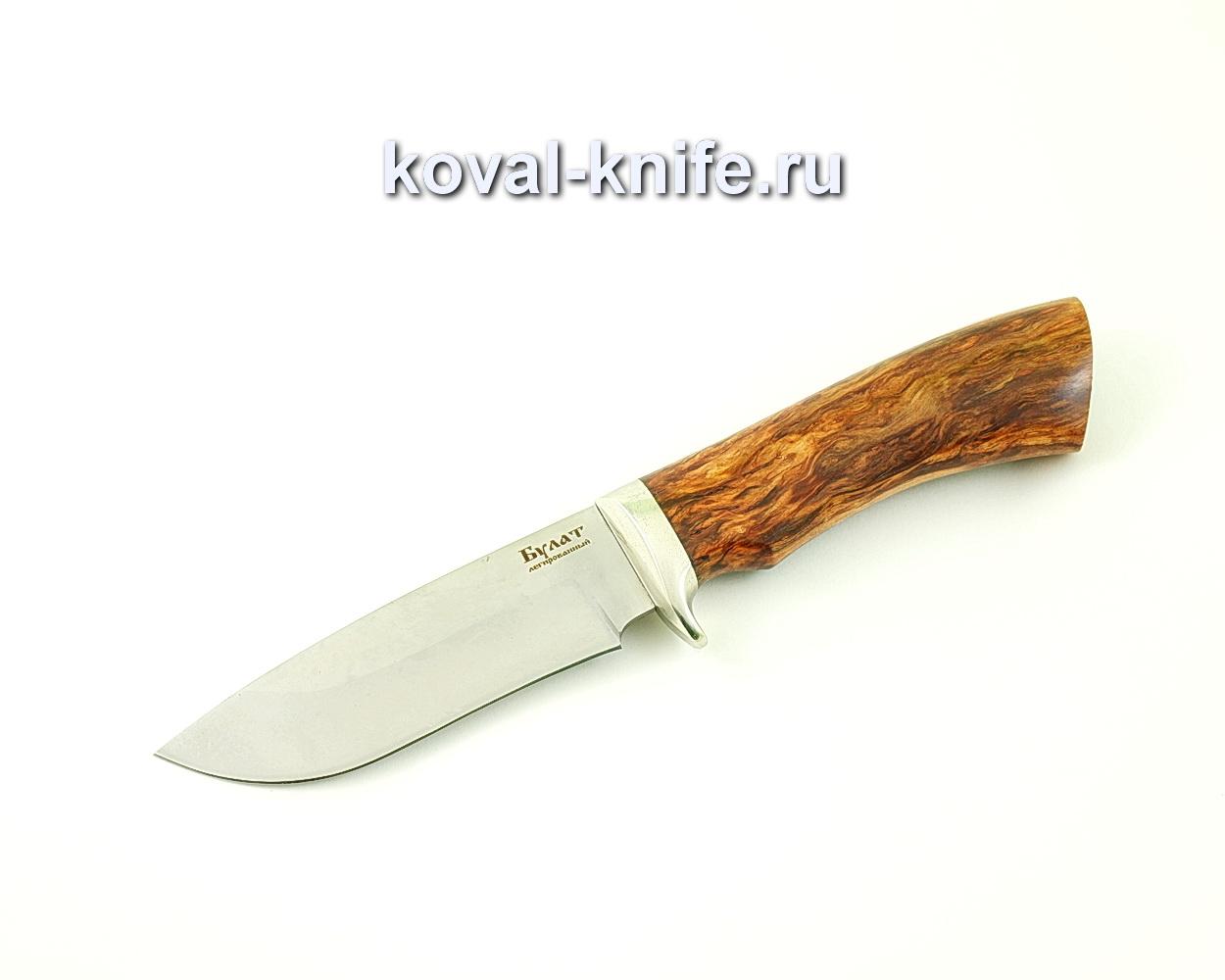 Нож из булатной стали Сапсан (Легированный булат, рукоять стабилизированная карельская береза, литье мельхиор)
