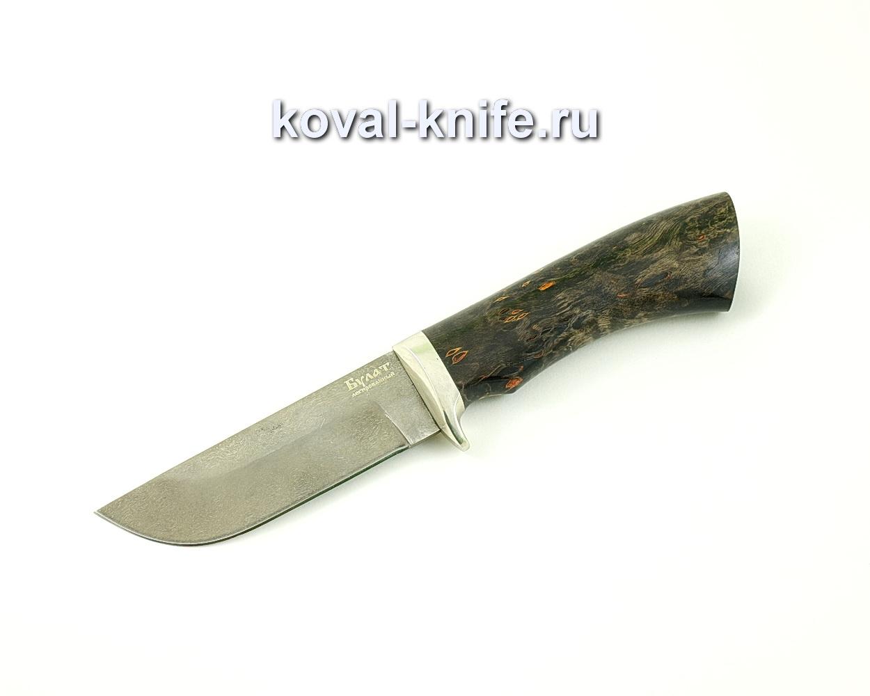 Нож из булатной стали Пегас (Легированный булат, рукоять стабилизированная карельская береза, литье мельхиор)