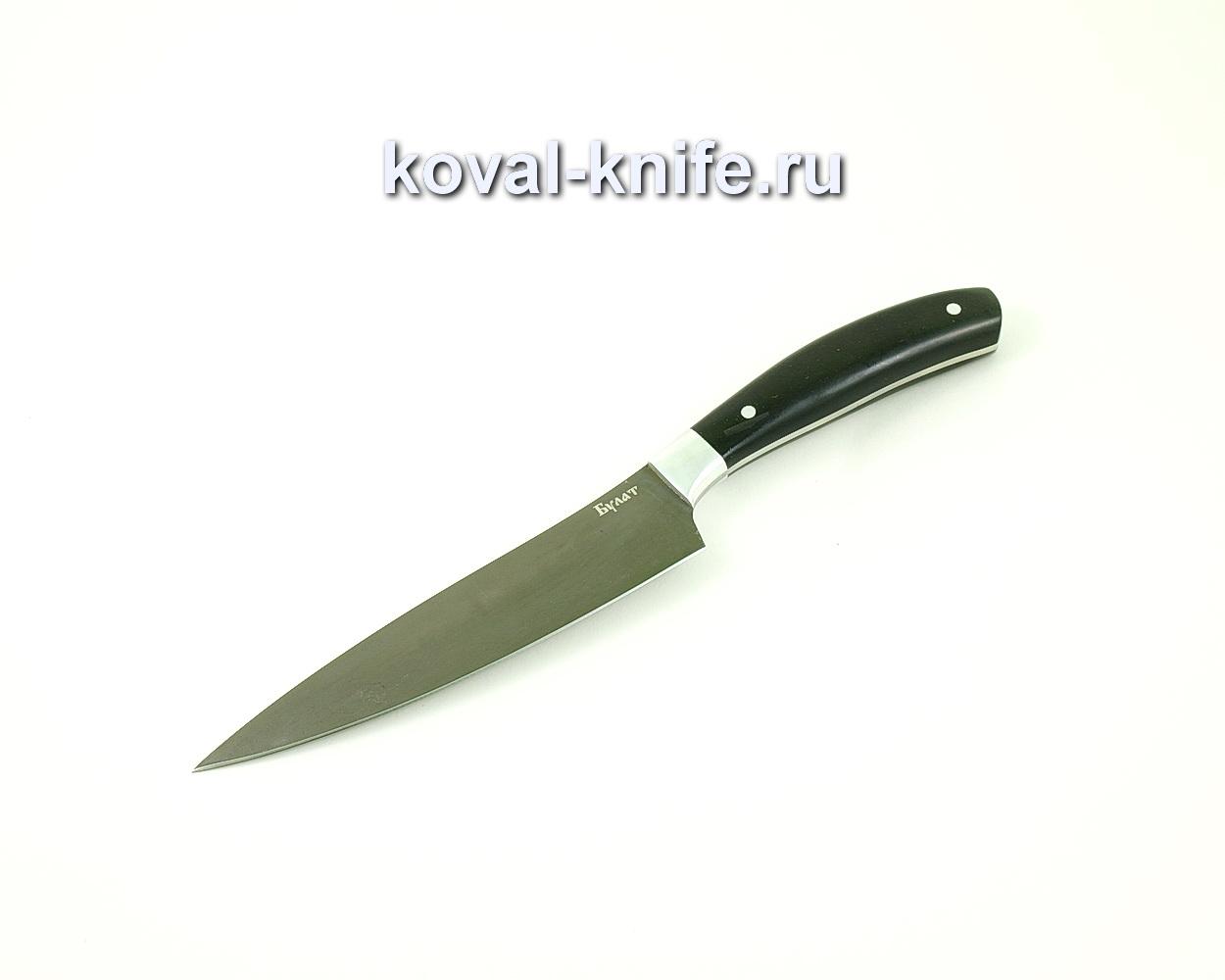 Нож из булатной стали Поварской средний (Легированный булат, рукоять эбонит) A452